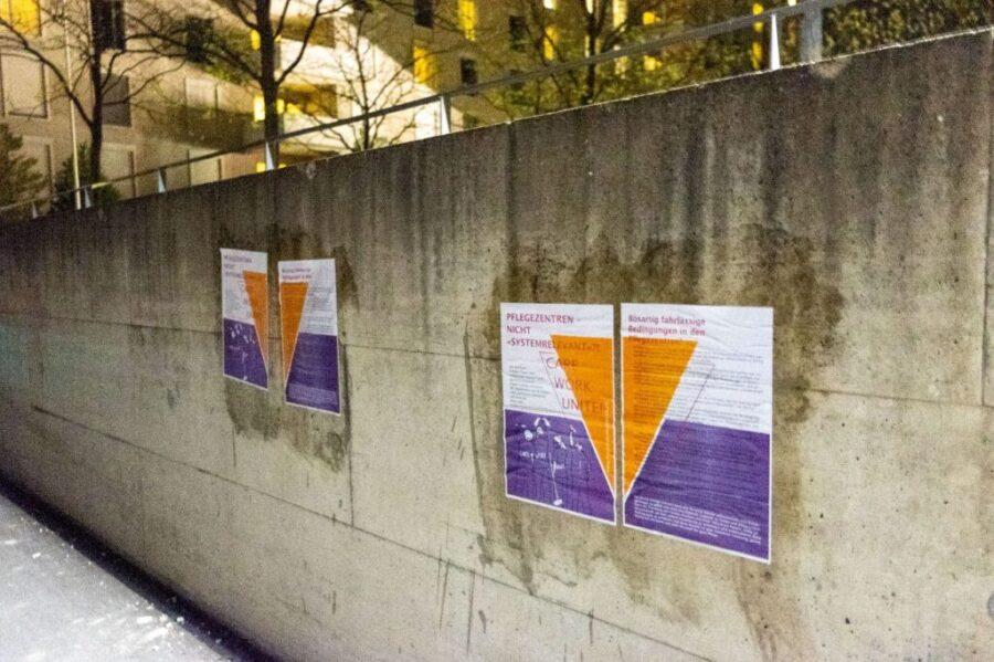 Plakat vor Pflegezentrum